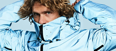 Speed flyer, kitesurfer and climber Murray Smith in our Blue Morpho Jacket